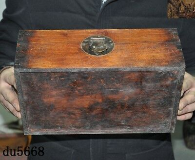 "12""Chinese dynasty Haunghuali Wood Hand carved Ancient Storage jewelry Box Boxes 8"