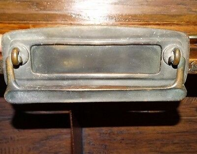 13839/ Antique Victorian Bronze / Brass Mail Letter Slot ~ Door Knocker
