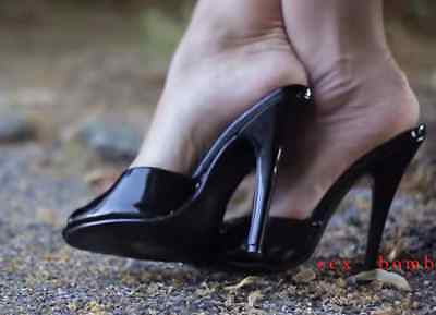SEXY sabot sandalo domina nero lucido TACCO spillo 15 DAL 35 AL 44 GLAMOUR ! 2