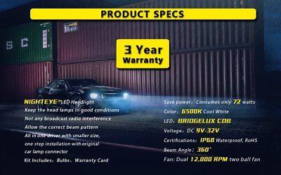 Nighteye Car 72W 9000LM H7 LED Conversion Headlight KIT 6500K Bulbs Xenon White 11