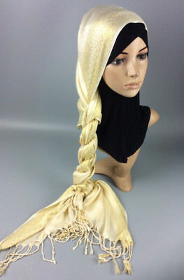 Muslim Women Hijab Tassel Long Scarf HeadWrap Islamic Big Shawls Hat Scarves Cap 11
