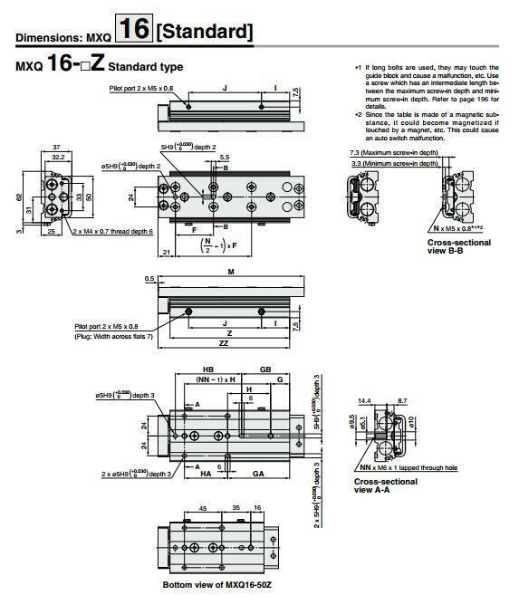 H● SMC MXQ16-125Z Pneumatic slide cylinder New 5