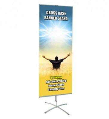 "Banner Stand adjustable Cross Base 23.5"" wide 63"" tall + travel bag"