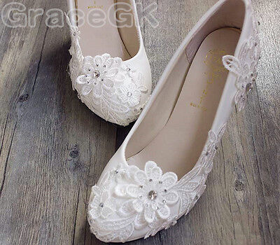 8066ef24064a0d ... Lace white ivory crystal Wedding shoes Bridal flats low high heel pump  size 5-12