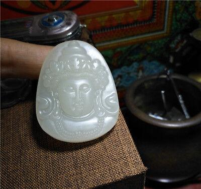 Genuine chinese Hetian jade kwan yin guan quan necklace pendant white nephrite 5