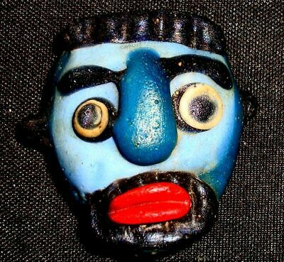 Ancient Phoenician Blue Face Mosaic Glass Bead Beard Man Pendant Rare 732 6