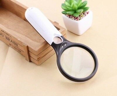 3 LED Light Handheld Magnifier 3X 45X Reading Magnifying Glass Jewelry Loupe 6