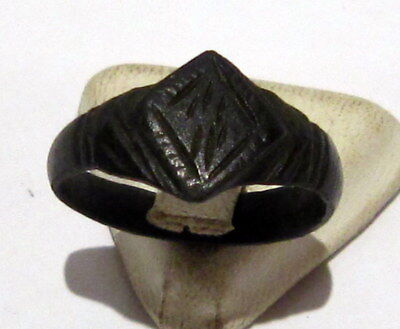 Beautiful Post-Medieval Bronze Ring With Engraving On The Top # 660 2