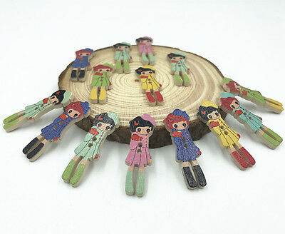 Wooden girl Buttons Mixed color 2-hole decoration Sewing Craft Scrapbooking 35mm 2