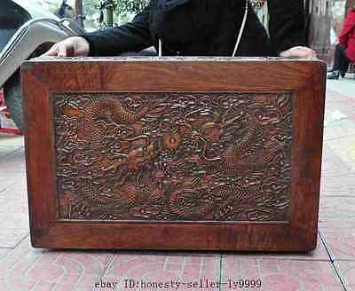 old chinese huanghuali wood carved dragon beast foo dog lion desk Tea table A 8