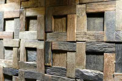 Wood Wall Tile, Wood Wall Decor, Mosaic Tiles, Rustic Tiles, Reclaimed Wood Tile 5