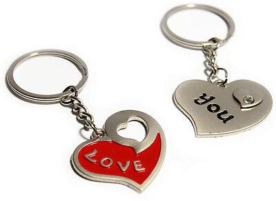 Geteiltes Herz GOLD Schlüsselanhänger mit Gravur Valentinstag Hochzeit Geschenk