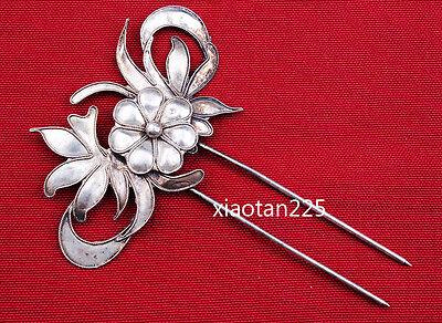 China's Ancient costume Handmade Miao Silver filigree Hairpin Headdress W599 2