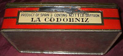 Caja De Lata Preciosa Litografiada Buen Estado Azafranes ... La Codorniz 1940/50