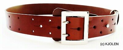 Polish Full Grain Bullhide Leather Santa Claus Pirate Military Belt Double Prong 5