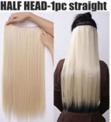 """Hair Extensions Real Thick 1PCS Half Head Clip In Long 18-28"""" feels human purple 9"""