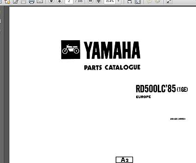 YAMAHA RD500 SERVICE Repair Manual Workshop Parts List PDF
