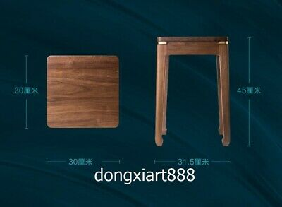 Brass Black walnut solid wood furniture Wooden dining room square High stool 12