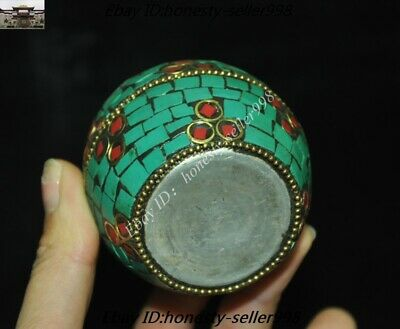 Old Tibet Tibetan Nation Bronze inlay Turquoise coral Jewelry Box Rouge boxes 8