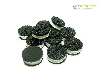 10 Miniature Oreo Sandwich Biscuit Chocolate Cookies Dollhouse Food Bakery Decor 11