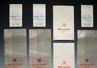 Konvolut 14 x Tüten aus Drogerie u. Apotheke um 1900 - 1960