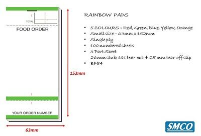 Food Bar Restaurant Order Pads 5 Colours  3 Part Tear Off slip 1 Ply PAD 84 BF84 5