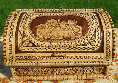 Birch Bark Bread Box Made Russia Natural Eco Hand Carved Anti Mold Large