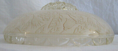 VINTAGE 1930/40'S 3-Hole CHAIN CEILING LIGHT FROSTED EMBOSSED SHADE 5