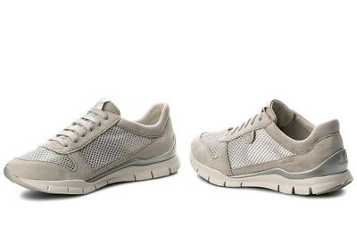 d72ea09ecd GEOX SUKIE D52F2A scarpe donna sneakers pelle camoscio tessuto casual zeppa