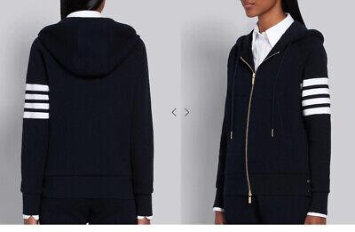 Thom Browne Navy Engineered 4-Bar Zip-Up Loopback Jersey Hoodie Sweatshirt 3 M