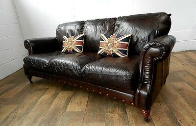 PAIR of VICTORIAN STYLE CIGAR BROWN STUD LEATHER CHESTERFIELD 3 SEATER SOFAS 4