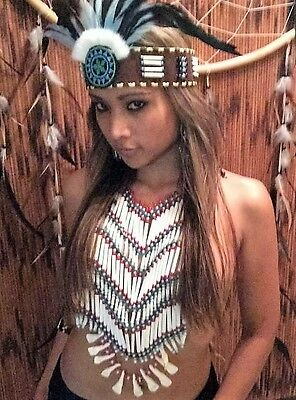 Indianerschmuck  Kostüm echt Knochen Brustpanzer  War bonnet Federhaube Braslet 3