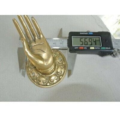 "2 small Polished Handle Hook hand solid brass door  knob hook 2.1/4 ""buddha B 2"