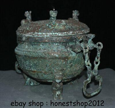 "14 ""Chinesische Dynastie Antik Bronze Ware 3 Tier Griff Kette Pot Jar Crock 2"