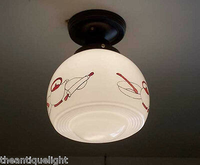 198 Vintage 30s 40s Ceiling Light Lamp Fixture Re-Wired kithcen 5