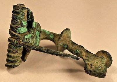 Authentic Ancient Roman Bronze Fibula, Spring, Pin Fully Intact Detailed Design 2