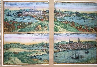 Old Antique  Map of Stockholm, Sweden: 1588 by Braun & Hogenberg REPRINT 1500's 8