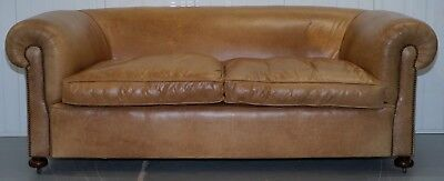 1 Of 2 Vintage Victorian Style Restored Brown Leather Club Sofas Coil Sprung 2