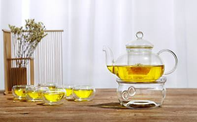 8 Piece Glass Tea Set 400ml Glass Teapot With Infuser + Teapot Warmer + 6 Cups