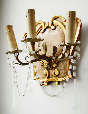 Pair Rare Italian Beaded Florentine Carved Wood & Tole Sconces Opaline Prisms 2 • CAD $1,953.00