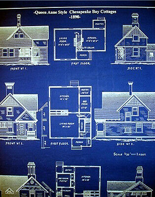 "Chesapeake Bay Cottages 1890 blue Blueprint Plans 19"" x 24"" (069) 2"