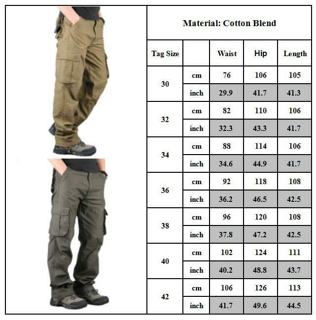 Mens Combat Cargo Trousers Work Tactical Military Army Camo Chino Long Pants AU 8
