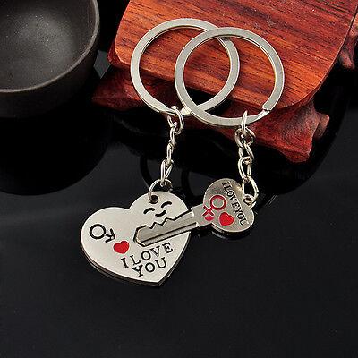 Romantic Couple Keychain Keyring Keyfob Valentine's Day Lover Gift Heart Key Set 2