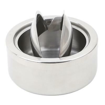 Round Stainless Steel Cigarette Lidded Ashtray Silver w/Windproof Lid Cover MA 3