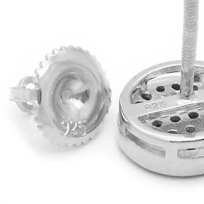 209ab2144 ... 925 Sterling Silver Round Circle Flat Screen Stud Screw Back Earrings  8mm Lab Cz 6