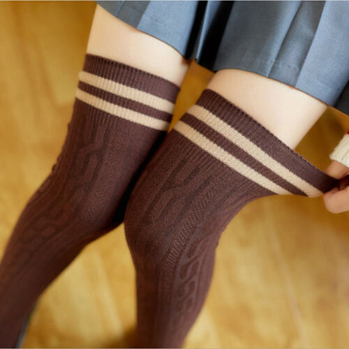 Women Extra Long Thigh High Socks Over The Knee School Girl Boot Knit CH