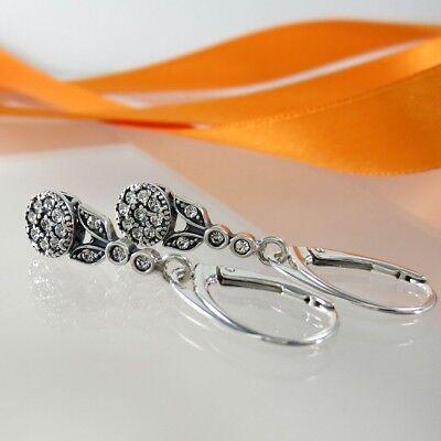 A-768 Ohrringe 925 Silber Schmuck mit Swarovski Elements Kristall Jugendstil