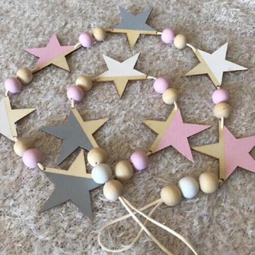 Nordic Wooden Bead Hanging Tassel Stars Children's Decor Ornament LH 2