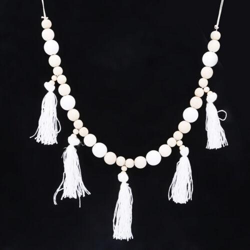 Nordic Style Wooden Beads Tassels Hanging Decorative Children's Room Decor LH 5