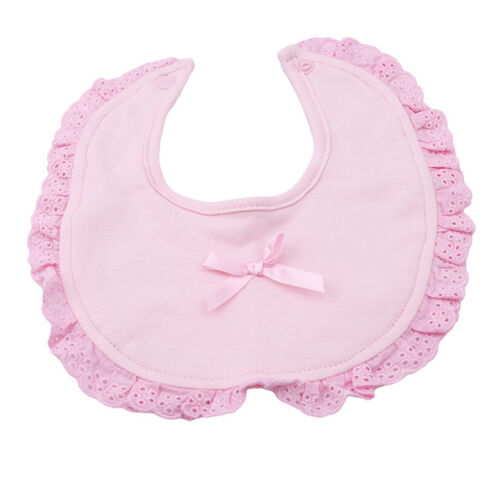 Lovely Baby Girl Fancy Frilly Cotton Bib Ribbon Insert Lace Perfect Gift RE